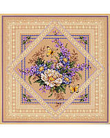 "Lovely Lavender and Lace - You'll find this bouquet and butterflies ""doily"" remarkably quick and easy to stitch in Counted Cross-stitch and decorative stitches. The beige background shows through enhancing its lacy charm."