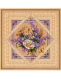"Flowers & Lace - PDF: Lovely Lavender and Lace - You'll find this bouquet and butterflies ""doily"" remarkably quick and easy to stitch in Counted Cross-stitch and decorative stitches. The beige background shows through enhancing its lacy charm."
