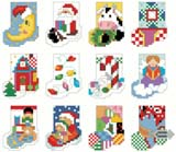 Twelve tiny Christmas Stocking designs.