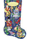 Christmas Ornament Stocking - PDF: Give your mantel a pop of color with this vibrant ornament stocking. Created with playful designs and lovely accents, this stocking can be personalized with each family member's name.