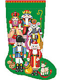 Nutcracker Stocking - PDF: A nutcracker for a stocking for Christmas, what more could a little girl or boy want? This unique motif combines a variety of classic nutcracker designs from around the world.