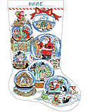 Snow Dome Stocking - PDF: These snow domes show the varied scenes of the Christmas seasons form the Nativity to carols greeting the holiday.