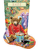 Little Drummer Bear Stocking - PDF: Create a gorgeous stocking that will be enjoyed for years. Rich coloring and exquisite design will make this Little Drummer Bear a treasured Christmas piece.