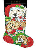 Puppies for Christmas Stocking - PDF: Soft and oh-so-huggable, these cute, cuddly puppies are sure to attract the attention of Santa! This piece would make a great gift for any dog lover or beloved pet!