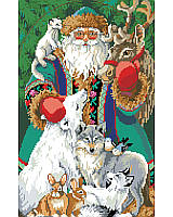 A North Pole Santa dressed in Nordic style robes surrounded by the cold climate animals, including;  reindeer, wolf, fox, and other loving animals.