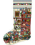 Toys and Games Heirloom Christmas Stocking - PDF: Give your mantel a pop of color with our vibrant Toys & Games Stocking. Created with playful designs and vintage accents, this stocking can be personalized on the cuff with your kid's name.