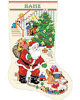 Gift to anyone on the Nice List this darling cross-stitch Santa Claus Stocking to hold all their favorite Christmas treats.