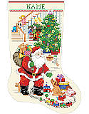 The Best of Christmas Stocking - PDF: Gift to anyone on the Nice List this darling cross-stitch Santa Claus Stocking to hold all their favorite Christmas treats.