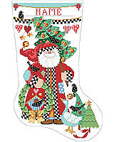 This folk art Santa makes a quaint figure on this stocking showing simple Christmas décor.