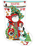 Folk Art Collection Stocking - PDF: This folk art Santa makes a quaint figure on this stocking showing simple Christmas décor.