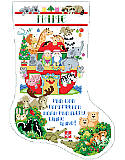 Two By Two Stocking - PDF: Inspired by Noah's legendary ark, this colorful stocking features the smiling faces of God's creatures!