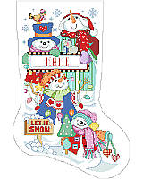 Cutest little snowmen to be found on this stocking designed by Linda Gillum.