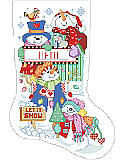 Let It Snow Stocking - PDF: Cutest little snowmen to be found on this stocking designed by Linda Gillum.