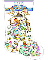 A stocking with Celestial Angels with their trumpets in celebration of the birth of the Christ Child.