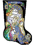 Tiffany Nativity Stocking - PDF: Nancy Rossi gives us an elegant Tiffany style portrait of this classic creche scene.