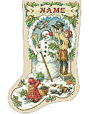 Nostalgic Christmas Stocking - PDF: Watch as the children of yester-year decorate a snowman.