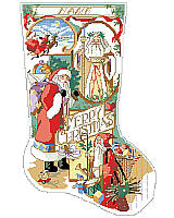 Add old world, vintage appeal to your Mantel during the holiday season with this cross stitch stocking displaying a heartwarming scene featuring this collection of Santas.