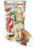 Santa Collage Stocking - PDF: Add old world, vintage appeal to your Mantel during the holiday season with this cross stitch stocking displaying a heartwarming scene featuring this collection of Santas.