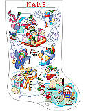 "Winter Fun on Ice Stocking - PDF: We share ""Snow"" much joy and happiness with our family and friends in an enchanting wonderland stocking."