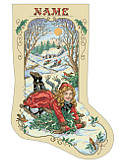 Bygone Days Stocking - PDF: Hold on tight to your toboggan! This classic Kooler design in a traditional, vintage style and the festive flair of this playful snowy scene is sure to make spirits bright and add the right touch to your holiday décor.