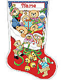 Jingle Bear Stocking - PDF: Creating a cheerful Christmas look has never been easier. With our cuddly bears stocking design and jolly jingle bells spilling out, you can add a fun touch to you décor, or wrap it up for a gift.