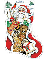 Santa visits with his woodland friends in this festive stocking designed to decorate your mantle.