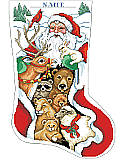 Peace on Earth Stocking - PDF: Santa visits with his woodland friends in this festive stocking designed to decorate your mantle.