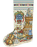 Music Room Heirloom Stocking - PDF: This delightful stocking features a Victorian-inspired music room complete with a violin, piano, trumpet, cello and other instruments. Placed on a fireplace mantle the vintage colors and a musical theme lend a 19th century charm to any holiday decor.