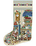 Holiday Study Heirloom Stocking - PDF: The holidays bring families together to create memories that last a lifetime. Celebrate those special moments with this stunning cross-stitch stocking designed by Sandy Orton.   This sitting room is overflowing with sentimental charm, from the traditional clock on the wall to colorful choo choo train on the floor. This piece is sure to evoke memories of wonderful Christmases past.