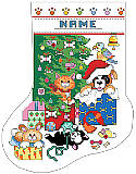 Pet Christmas Stocking - PDF: This adorable cross stitch stocking features mischievous kitties and puppies and bunnies playing by the tree, encouraged by the parrot on top!