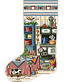Holiday Kitchen Heirloom Stocking - PDF: Can you smell the holiday treats? Bring a little heartwarming charm into your home with this vintage kitchen design boasting with flavor! This stocking shows a Victorian style kitchen with wood-burning cookstove  and table covered in baked goods.