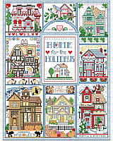 Celebrate all the seasons and lot's of holidays with this lovely home sampler. Featuring charming Victorian cottages decked out for different holidays. From Valentine's Day, Fourth of July, Halloween, to Christmas, there's something for everybody! Stitch as individual holiday motifs or as a sampler to display all year long.