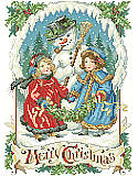 Victorian Snowman - PDF: Our charming Victorian-inspired snowman scene by Sandy Orton brings a whimsical Old World touch to your home décor. This Merry Christmas picture design is a perfect companion to our Bygone Days Stocking and Nostalgic Christmas Stocking.