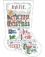Create an angelic stocking featuring bold Christmas lettering with lovely swirling accents. The 'write' way to celebrate the holiday season, with graphic style.