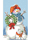 Snowman Pillow - PDF: The weather outside may be frightful, but this fluffy snowman and kitten duo are delightful and want nothing more than to Let It Snow. With knitted scarves, a cheerful holly wreath, smiling faces, and rosy cheeks, this pair is a welcome addition in any winter wonderland. This simple and sweet holiday classic is one of our favorites.