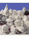 Plastic Canvas Snow Village - PDF: What says Christmas better than a village covered in glistening snow? Easy instructions include a complete grouping of charming houses, a gazebo, trees and a church to complete your frosty holiday village. All designed using white 7-mesh plastic canvas. This classic pattern uses a few easy-to-do stitches using white worsted weight yarn.