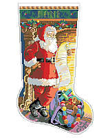 Jolly Santa is checking his list before getting ready to deliver the gifts and toys to all the good girls and boys in the world. Adorn your home with holiday cheer with this cozy, classic Christmas stocking. The vintage-inspired design would give a nostalgic touch to any holiday décor and brighten any Christmas mantel. It pairs well with our extensive Kooler classic stocking collection.