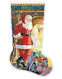 Checking His List Stocking - PDF: Jolly Santa is checking his list before getting ready to deliver the gifts and toys to all the good girls and boys in the world. Adorn your home with holiday cheer with this cozy, classic Christmas stocking. The vintage-inspired design would give a nostalgic touch to any holiday décor and brighten any Christmas mantel. It pairs well with our extensive Kooler classic stocking collection.