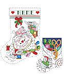 Cross Stitch Brigade Stocking - PDF: Perfect for the needlework fan, these two quick little stockings include all the tools of the trade, such as spools of thread, embroidery hoop, floss, pins, scissors and tape measure. As soon as the Thanksgiving turkey is in the fridge, these very busy little mice get cross stitching a Merry Christmas greeting! Great seasonal gifts for the stitcher in your life.