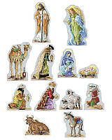This gorgeous, deluxe 12-Piece Nativity Set includes Mary, Joseph, baby Jesus, an angel, three wise men, a shepherd, barn animals and a camel to create a beautifully reverent scene of that most holy night. Can be displayed beneath the Christmas tree, on a mantel, on a foyer table or on a shelf. This classic, detailed and beautiful Nativity will become a treasured heirloom for generations to enjoy! Finishing instructions included to make each figure free standing. 2
