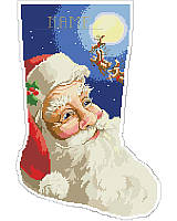 Upgrade your family's stocking collection and spruce up your mantel with this vibrant stocking! Featuring jolly Saint Nick's happy face in a big and bold design, with great detail in his expression as he gets a glimpse of his reindeer in flight on his annual ride to deliver toys. Personalize this stocking for a special family member to become a beautiful, cherished addition to any holiday decor.