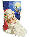 Jolly St. Nick Stocking - PDF: Upgrade your family's stocking collection and spruce up your mantel with this vibrant stocking! Featuring jolly Saint Nick's happy face in a big and bold design, with great detail in his expression as he gets a glimpse of his reindeer in flight on his annual ride to deliver toys. Personalize this stocking for a special family member to become a beautiful, cherished addition to any holiday decor.