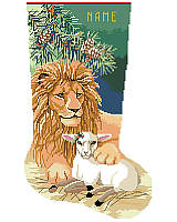 Make the holidays extra merry with this sweet stocking for the peace loving, animal fan in your life. It features delicate detailing, festive holiday colors as a mighty lion lies with a lamb under the pine bough! The proverb on 'In like a lion and out like a lamb' is appropriate here. This charming piece is a heartwarming design that's sure to be enjoyed for years to come!