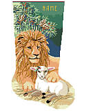 The Lion and The Lamb Stocking - PDF: Make the holidays extra merry with this sweet stocking for the peace loving, animal fan in your life. It features delicate detailing, festive holiday colors as a mighty lion lies with a lamb under the pine bough! The proverb on 'In like a lion and out like a lamb' is appropriate here. This charming piece is a heartwarming design that's sure to be enjoyed for years to come!