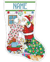 Celebrate the Christmas holiday with a jolly kiss when you hang this playful stocking on your mantel!Romance is alive and well as Santa and Mrs. Claus share warm wishes and holiday kisses under the mistletoe while surrounded by toys and a Christmas tree. Santa is getting ready to deliver toys and the elf reminds Santa to take his list. A sweet and charming scene that will become a treasured heirloom.