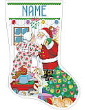 Kissin' Clauses Stocking - PDF: Celebrate the Christmas holiday with a jolly kiss when you hang this playful stocking on your mantel!Romance is alive and well as Santa and Mrs. Claus share warm wishes and holiday kisses under the mistletoe while surrounded by toys and a Christmas tree. Santa is getting ready to deliver toys and the elf reminds Santa to take his list. A sweet and charming scene that will become a treasured heirloom.