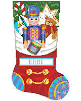 This stocking looks like it is already full of toys and goodies including the decorated Gingerbread Cookie, Candy Cane, Sail Boat, Teddy Bear and the Toy Soldier with his drum hanging over the edge of what looks like the top of the stocking, but don't worry, there is plenty of room to fill the real stocking with all kinds of treats. Includes great finishing instructions.