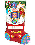 Toy Soldier Stocking - PDF: This stocking looks like it is already full of toys and goodies including the decorated Gingerbread Cookie, Candy Cane, Sail Boat, Teddy Bear and the Toy Soldier with his drum hanging over the edge of what looks like the top of the stocking, but don't worry, there is plenty of room to fill the real stocking with all kinds of treats. Includes great finishing instructions.