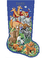 You will enjoy stitching this festive and colorful depiction of Noah's Ark. From the starry sky to the fine details on animals who are arriving two by two, this beautiful stocking will look wonderful on any mantle.