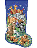 Noah's Ark Stocking - PDF: You will enjoy stitching this festive and colorful depiction of Noah's Ark. From the starry sky to the fine details on animals who are arriving two by two, this beautiful stocking will look wonderful on any mantle.